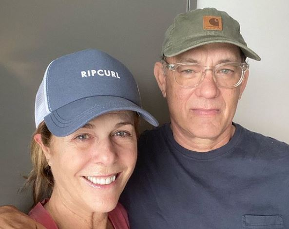 Rita Wilson and Tom Hanks in a Gold Coast hospital over the weekend.