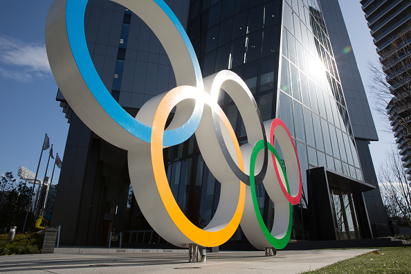 Olympic Rings in front of the Japan Olympic Museum in Shinjuku. Picture: Stanislav Kogiku/SOPA Images/LightRocket via Getty Images