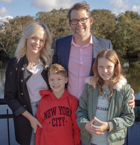 Nyssa and Dan Bull with their kids Harrison and Willow. Picture: Pippa Harris.