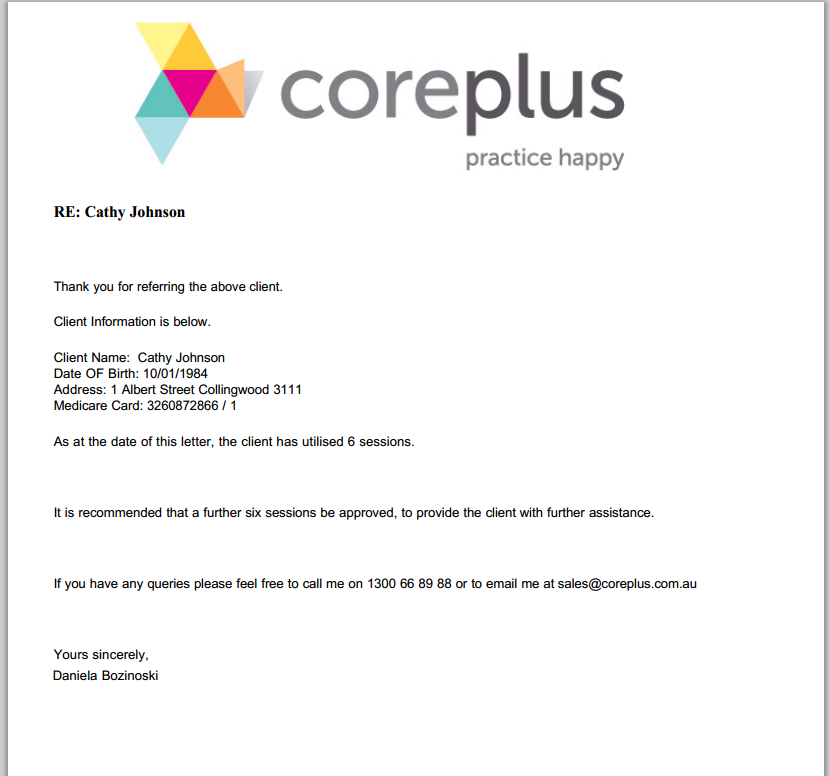 Letters | Reports | Online Practice Management Software | coreplus