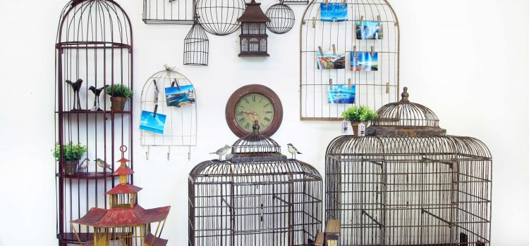 3D wall sculptures in the shape of birdcages