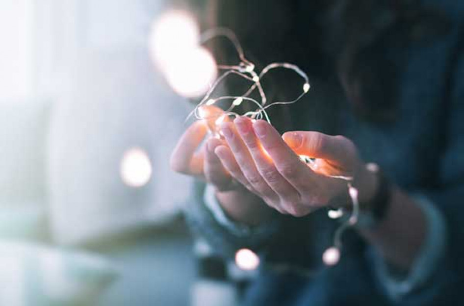 fairy lights in the palm of hand
