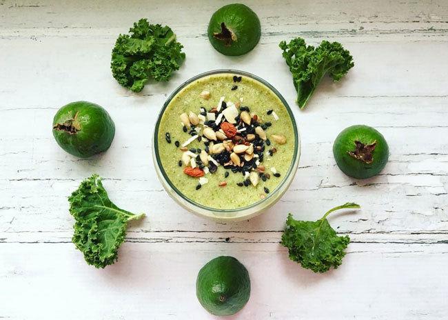 Healthy Feijoa Smoothie Recipes - Feijoa, Nashi and Kale Smoothie