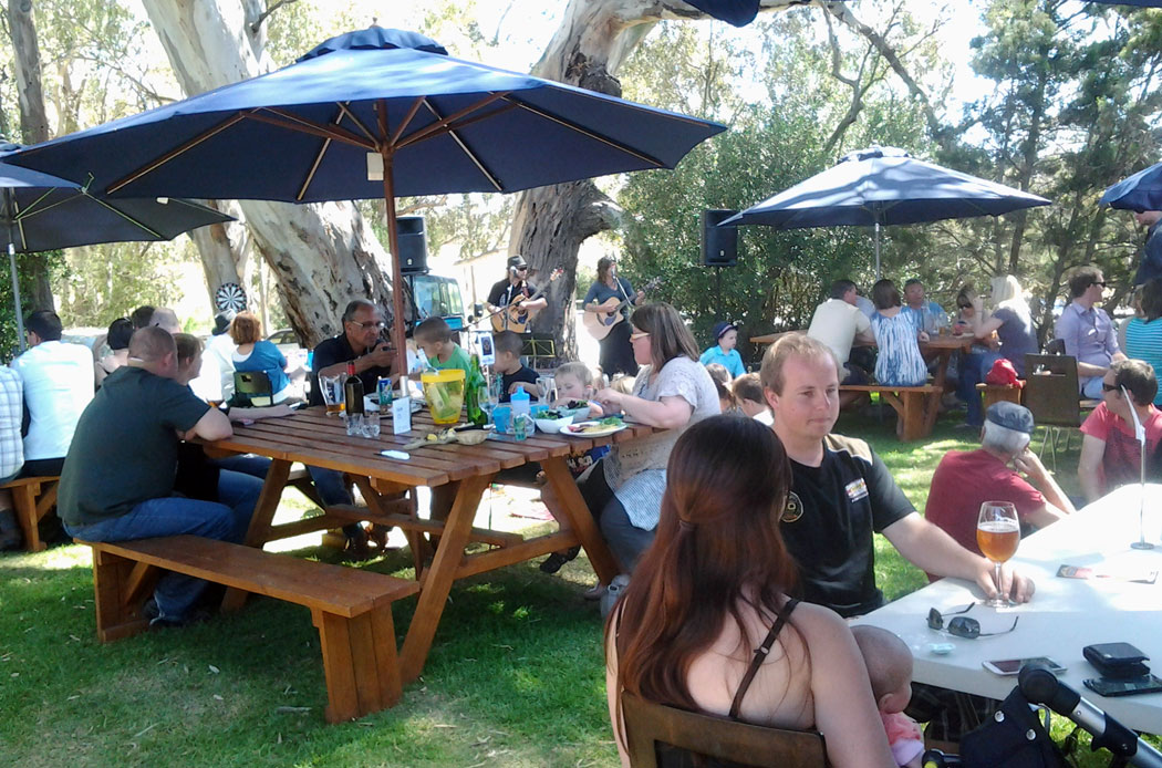 The beer garden at Barossa Valle Brewing