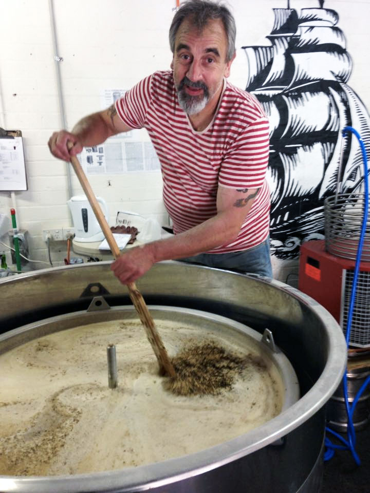 Steve Brook brewing up some Captain Bligh's beer