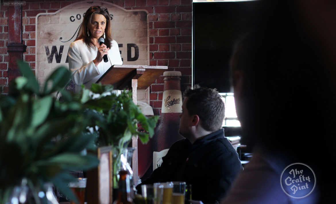 Mel Cooper speaks at the Melbourne launch of Coopers 2015 Vintage Ale