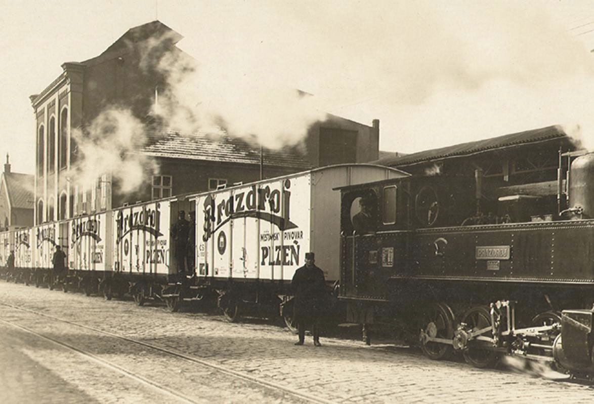 An old shot of beer in transit in Pilzn