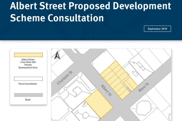 Cover of the Albert Street Proposed Development Scheme factsheet