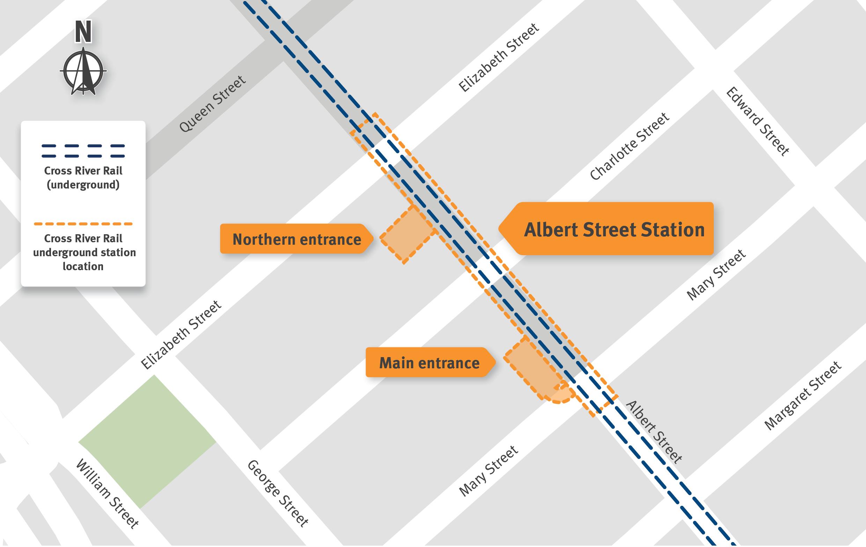 Map indicating the new underground Albert Street Station