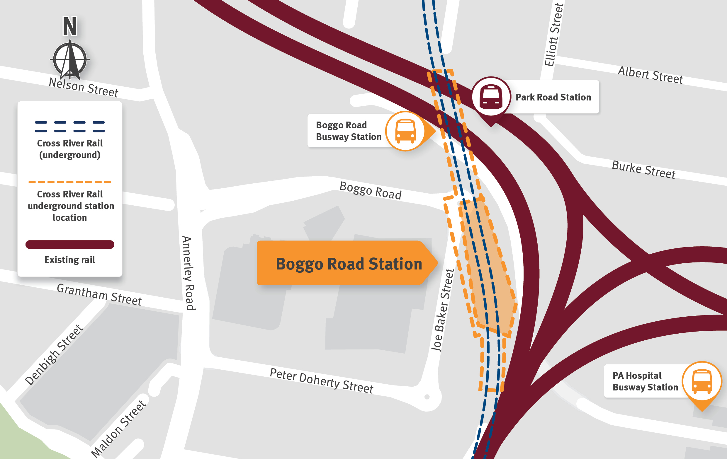 Map indicating new underground Boggo Road Station