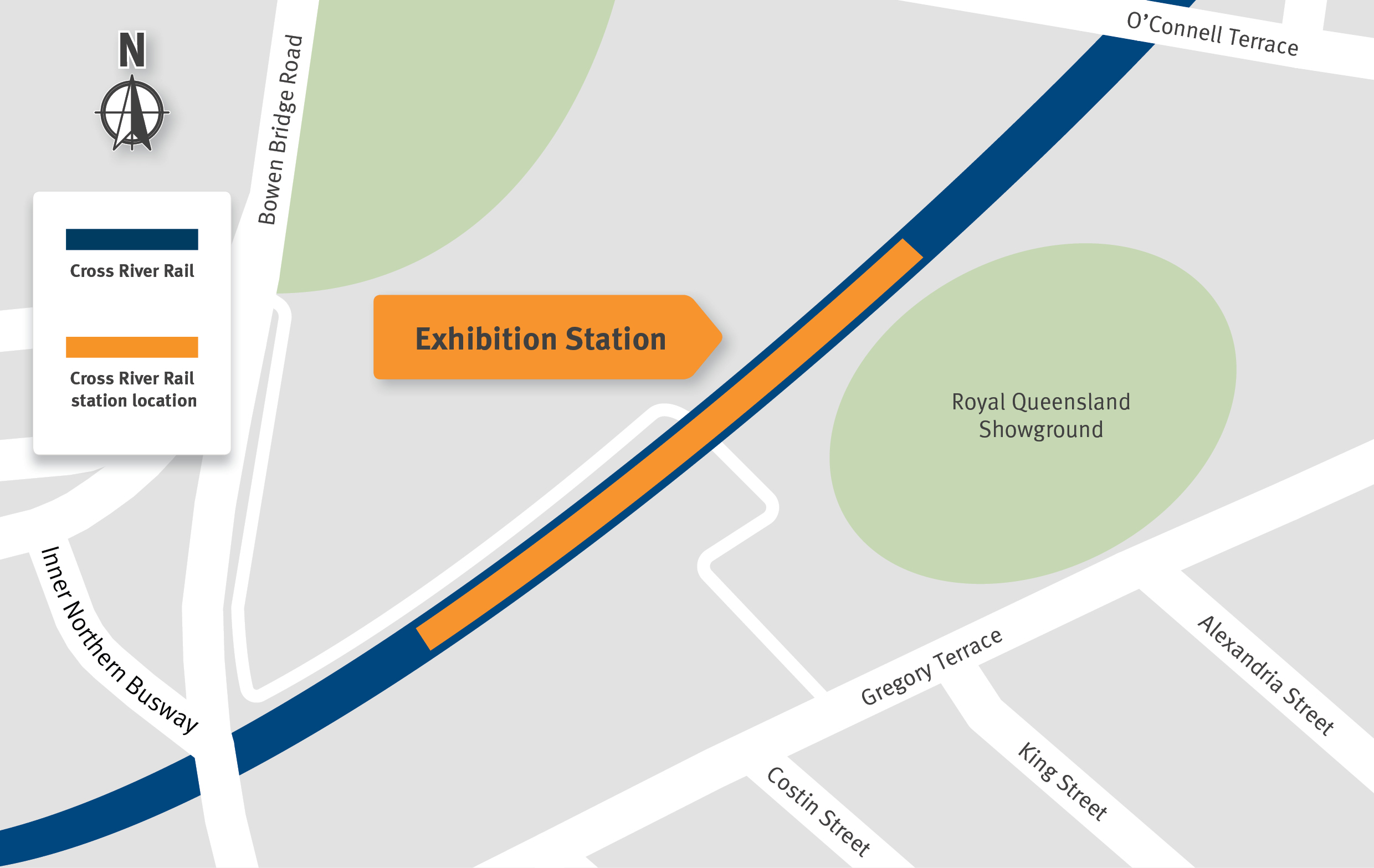 Map indicating the upgraded Exhibition Station