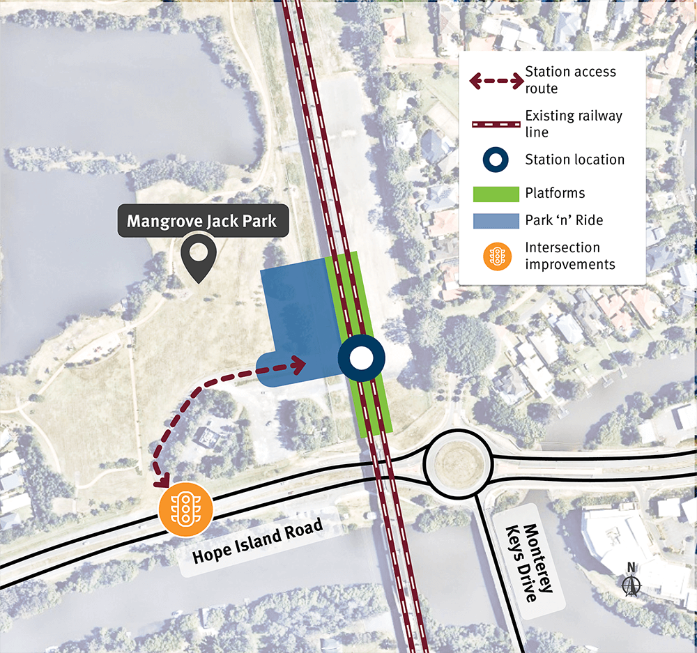 A map of the new Hope Island station.