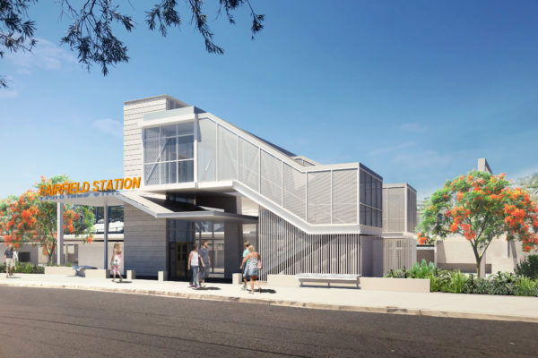 a front-facing concept image for the new Fairfield station