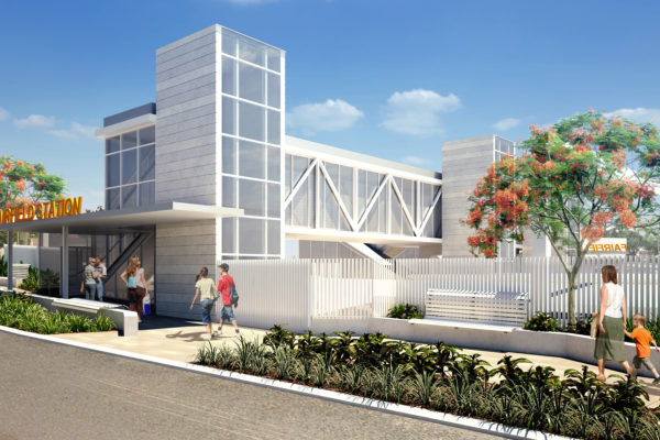 a side-on concept image for the new Fairfield station