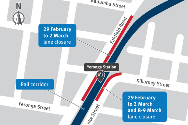 Yeronga station works and temporary traffic changes