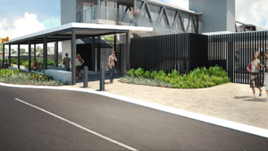 Slide 1 of 3 - Exterior view of Yeerongpilly station - concept image only, not final or for build