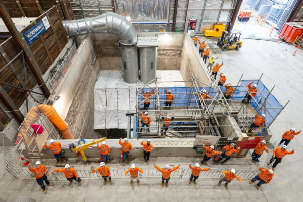 a group of Cross River Rail workers on site