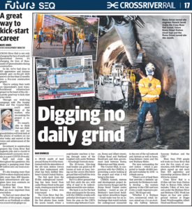 Newspaper article titled Digging no daily grind