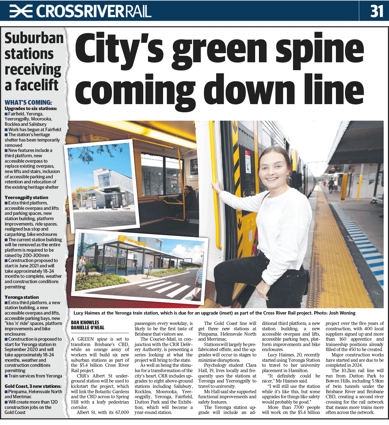 Newspaper article with title city's green spine coming down line