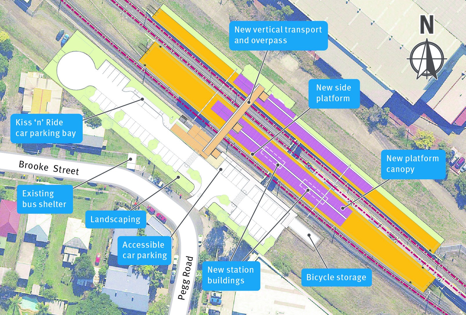map of the current Rocklea station with future features highlighted