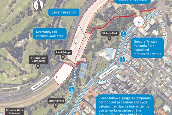 a map focusing on a stretch of rail way and parkland that is situated between Gregory Terrace and Victoria Park. The map shows that there will be some footpath closures.
