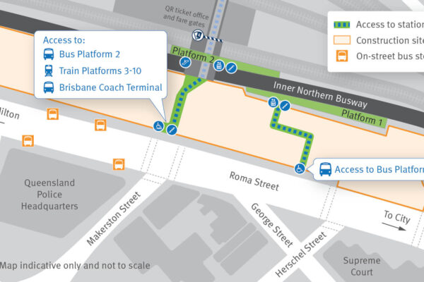 map of Roma Street busway showing how people can access the different platforms.