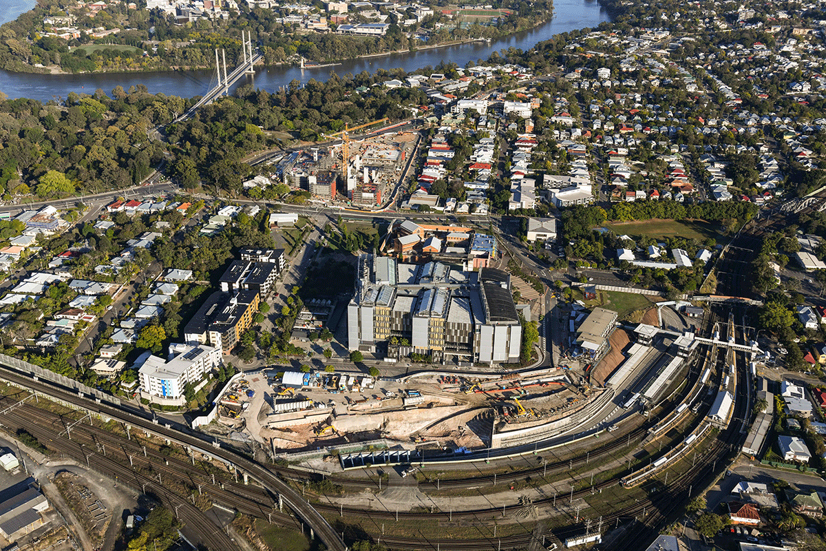 aerial view of the Boggo Road worksite looking west towards the Brisbane River.