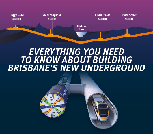 diagram showing the path of the new tunnell and a 3D model of how it sits underground