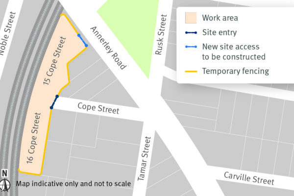 a map showing which houses on Cope Street are being demolished.