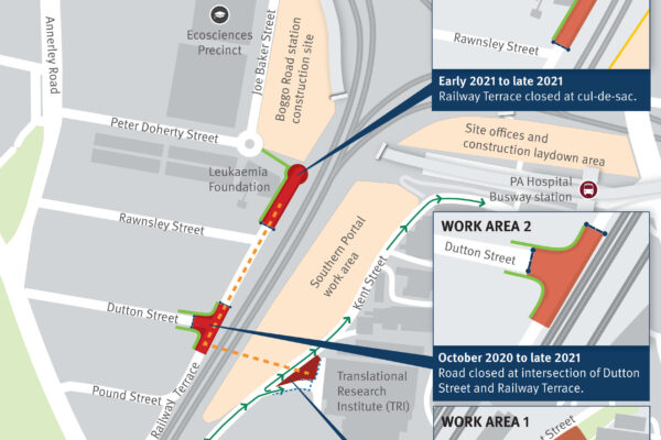map of the wider Boggo Road area showcasing where the works are occurring.