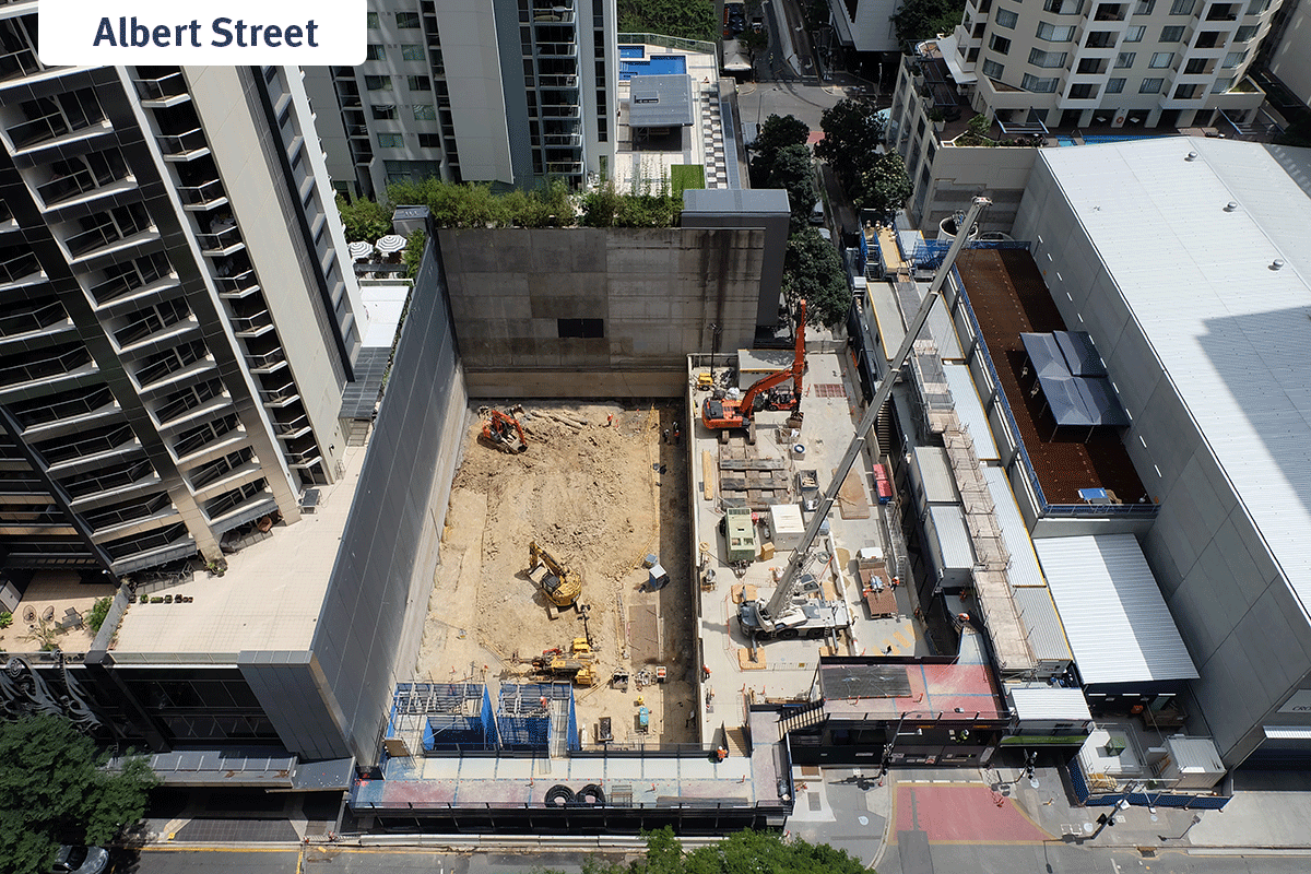 overhead view of the Albert Street sites on the corner of Mary Streets