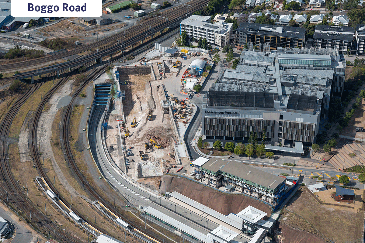 aerial photo of Boggo Road worksite with rail lines on left and EcoSciences precinct on right