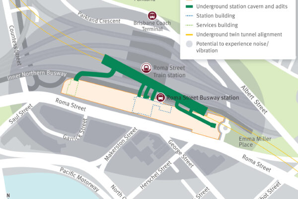 map of Roma Street station area with a grey scale indicating the areas that may be affected by the controlled blasting tests.