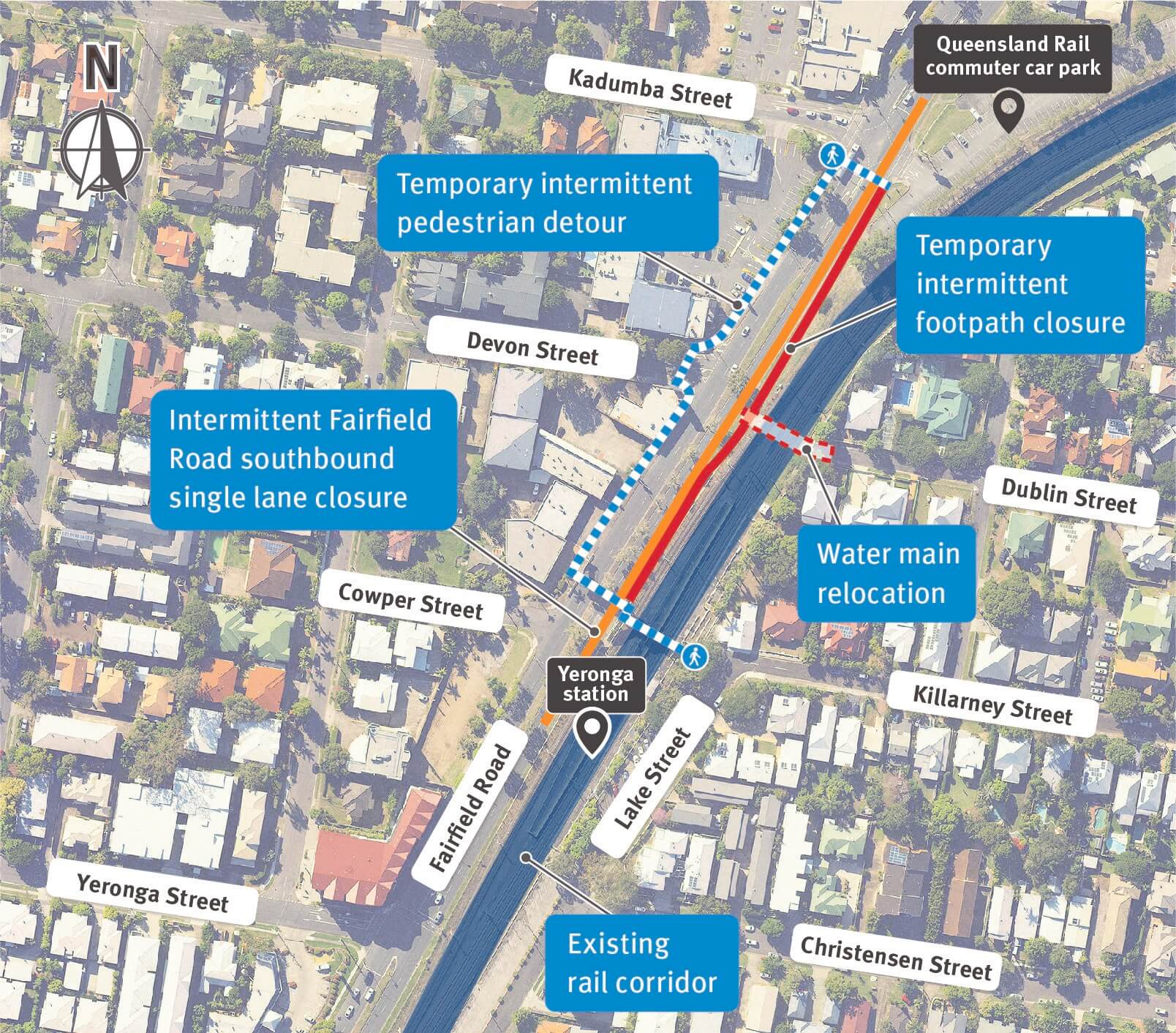 Map of the Yeronga station and its surrounding streets.