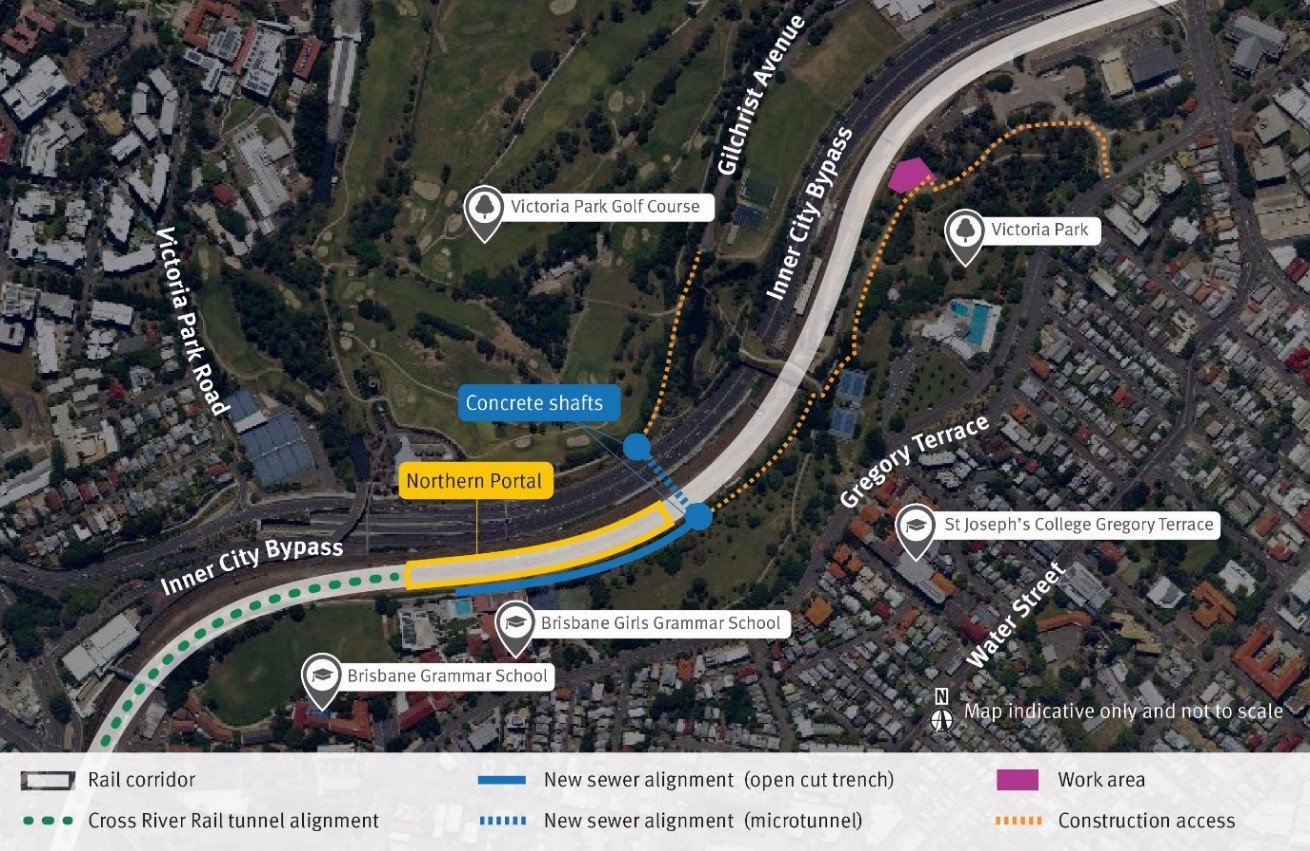 An underground sewer main located under the rail corridor at Normanby and within Victoria Park will be relocated approximately 300 metres east. Construction access will be via existing footpaths and access roads in Victoria Park.