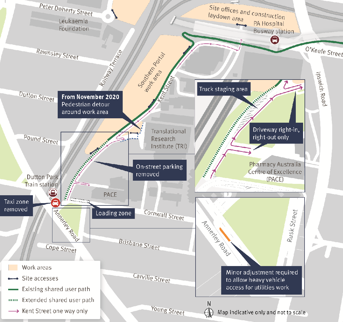 map of the Dutton Park and Boggo Road areas showing how parking and pedestrian pathways on Kent Street will be affaected during construction.