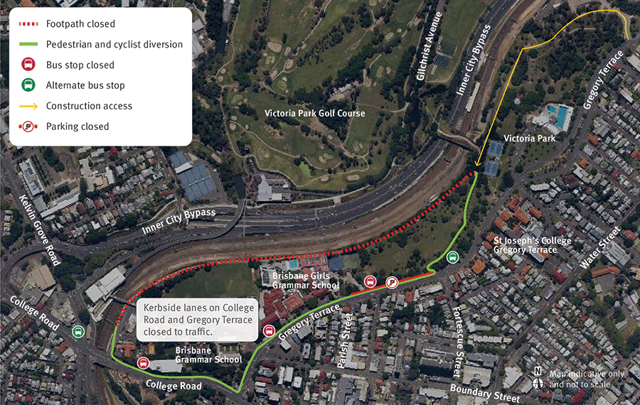The Victoria Park shared user path will be closed between College Road and the land bridge. A temporary cycle lane will be established on Gregory Terrace and College Road.
