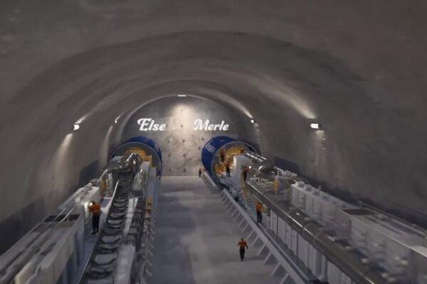 Animation of two TBMs sitting side by side in the station cavern