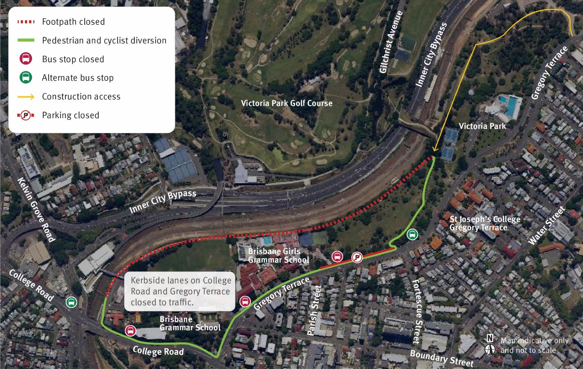 Weekend rail corridor works at the Northern Tunnel Portal. Sewer relocation activities will also be undertaken within Victoria Park. Site access via Gregory Terrace and Gilchrist Avenue