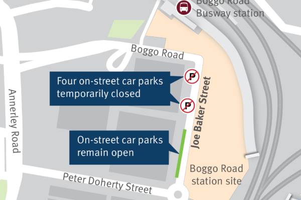 Indicative map showing the location of the four car parks to be temporarily closed