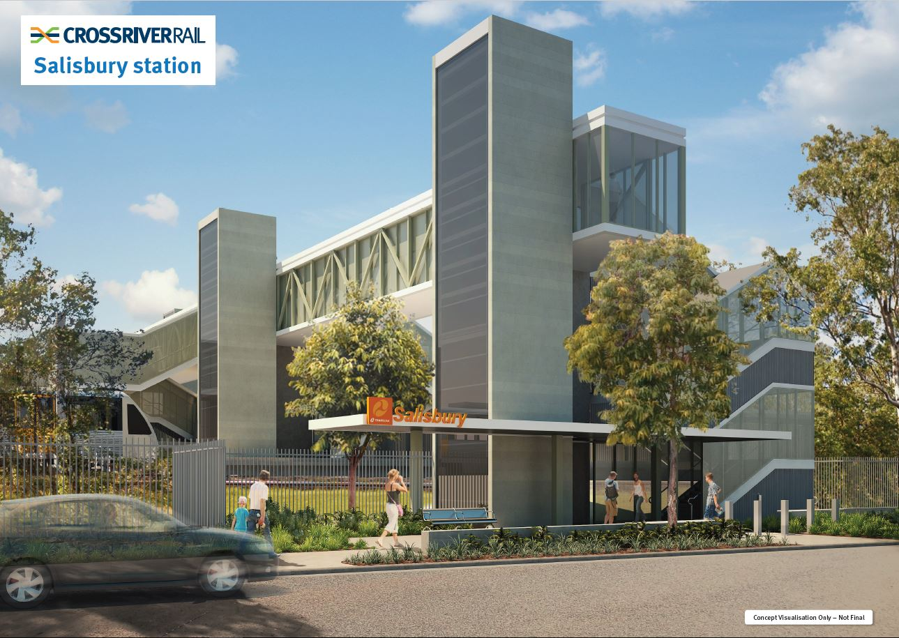 a render of the proposed changes to the existing Salisbury station. View is of the exterior of the station.