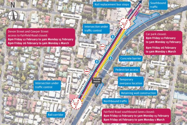 Map of Yeronga station showing potential disruptions.