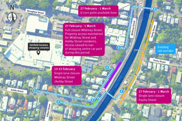Map of Fairfield station and potential disruptions.