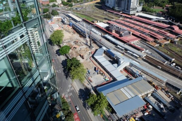 Aerial image of Roma Street station worksite looking back towards the parklands.