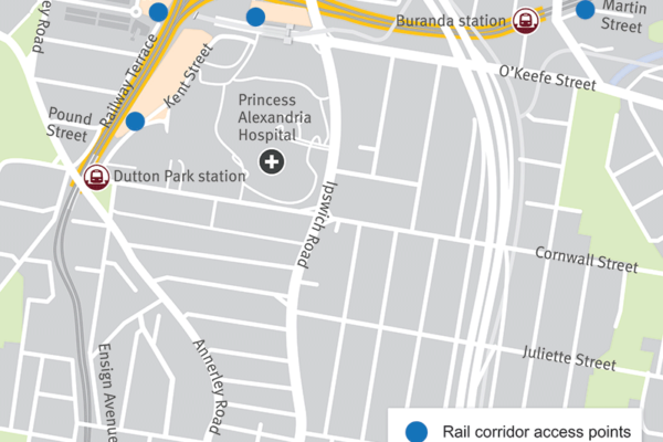 Map showing the work site locations at Boggo Road, Railway Terrace near Dutton Street and Kent Street. The area for the piling work is shown adjacent to Kent Street