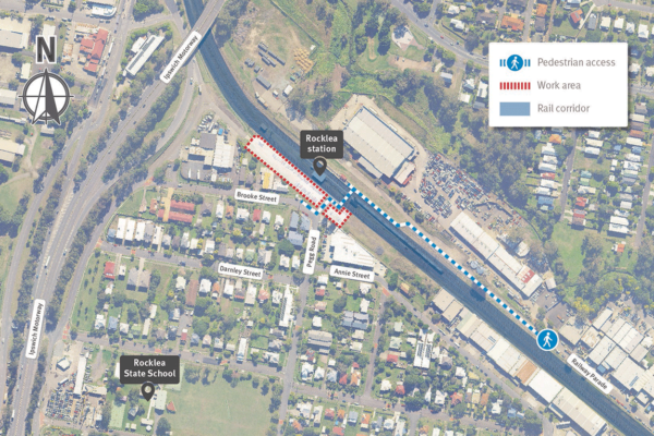 Map of Rocklea station showing work areas within the Brooke Street commuter car park, and pedestrian access between Brooke Street and Railway Parade.