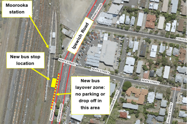 map show the new location of temporary 109 StationLink bus stop in front of Moorooka station on Ipswich Road.