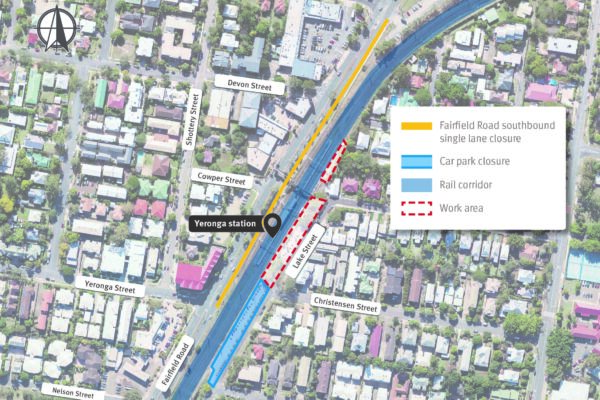 Map of Yeronga station showing work areas, Lake Street commuter car park closure and Fairfield Road southbound single lane closure, Yeronga.