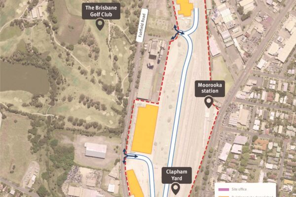 Map of Moorooka station and Clapham Yard showing work areas and construction access from Chale Street and Fairfield Road, Yeerongpilly.