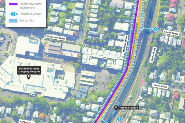Map showing pedestrian movements around Fairfield station and single lane closure on Mildmay Street during works